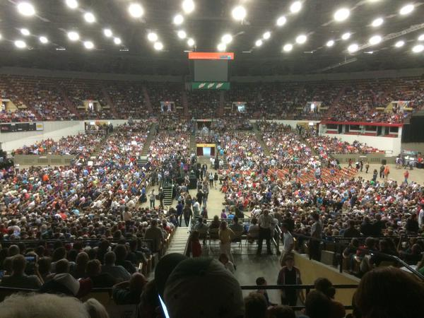 Crowd filing into Bernie Sanders rally in Madison, Wisconsin prior to Bernie's appearance (photo courtesy of the Wisconsin Defender Twitter account)